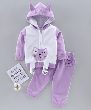 Mom's Love Winter Wear Full Sleeves Hooded Tee & Lounge Pant Kitty Patch - Purple