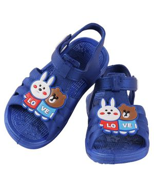 Yellow Bee Bunny & Bear Detailed Sandals - Blue