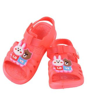 Yellow Bee Bunny & Bear Detailed Sandals - Red