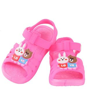 Yellow Bee Bunny & Bear Detailed Sandals - Pink