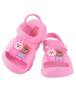 Yellow Bee Bunny & Bear Detailing Sandals - Light Pink