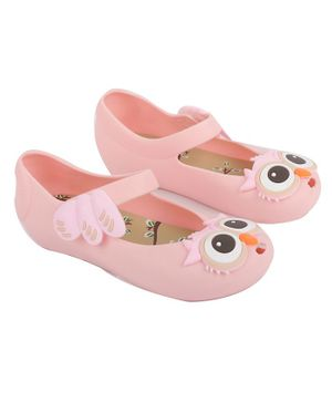 Yellow Bee Owl Patch Mary Jane Jelly Shoes - Pink