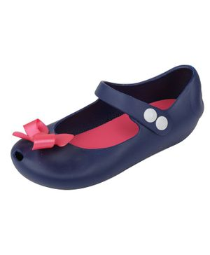 Yellow Bee Bow Design Mary Jane Jelly Shoes - Navy Blue
