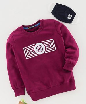 Niomoda Full Sleeves T-Shirt with Mask Brand Logo Print - Maroon