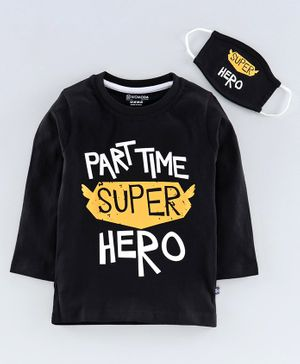 Niomoda Full Sleeves Tee with Mask Super Hero Print - Black