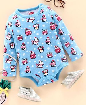 Babyhug Full Sleeves Onesie Penguin Print - Blue