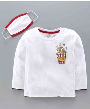 Ojos Full Sleeves Tee with Mask Pop Corn Print - White