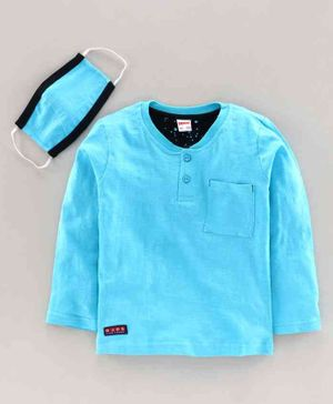 OJOS Full Sleeves Henley Tee With Mask - Sky Blue