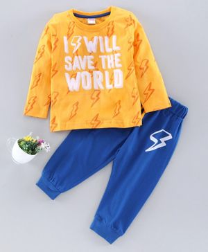 OJOS Full Sleeves Tee & Lounge Pant Text Print  - Yellow Blue
