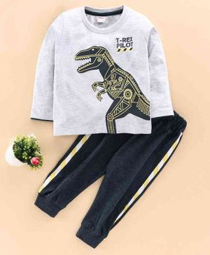OJOS Full Sleeves Tee & Track Pant With Mask Dino Print - Light Grey Navy Blue
