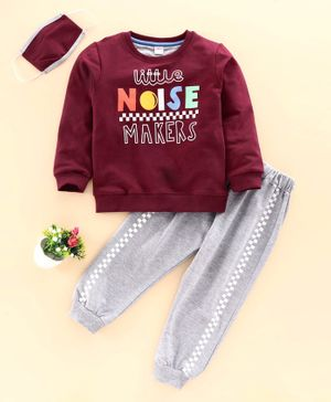 OJOS Full Sleeves Tee & Lounge Pant With Mask Little Noise Makers Print - Maroon Light Grey