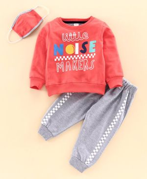 Ojos Full Sleeves Tee & Lounge Pant With Mask Little Noise Makers Print - Peach
