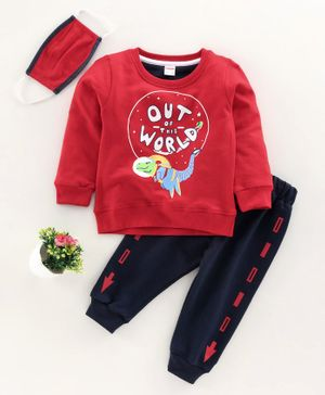 OJOS Full Sleeves Tee & Lounge Pant Text & Dino Print - Red Navy Blue