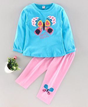 OJOS Full Sleeves Tee & Lounge Pant Butterfly Print - Blue Pink