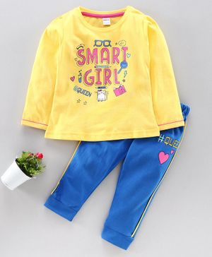 OJOS Full Sleeves Tee & Track Pant Smart Girl Print - Yellow Blue