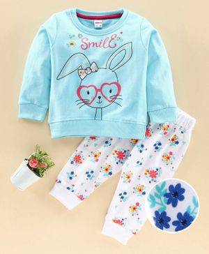 Ojos Full Sleeves Tee and Lounge Pant Set Bunny Print - Blue