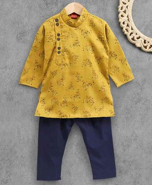 Ethnik's Neuron Full Sleeves Kurta Pajama Set Floral Print - Yellow
