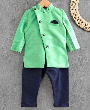 Ethnik's Neu Ron Full Sleeves Sherwani & Pyjama - Green Navy Blue