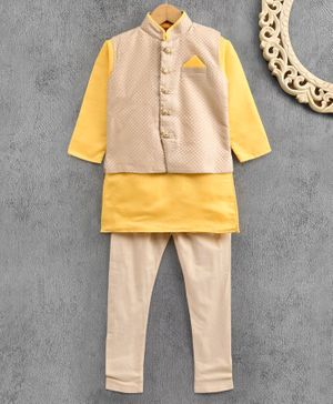 Ethnik's Neu Ron Full Sleeves Kurta & Pyjama With Jacket - Yellow Cream