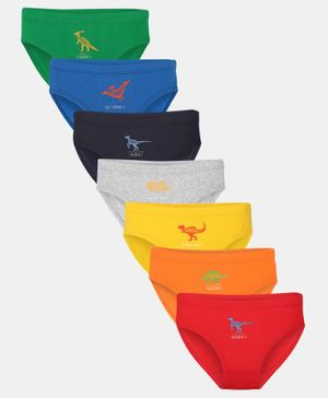 Charm n Cherish Pack Of 7 Dinosaur Print Briefs - Multicolor