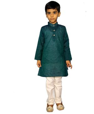 Mittenbooty Full Sleeves Stripe Pattern Kurta With Pajama - Green