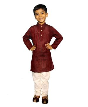 Mittenbooty Full Sleeves Stripe Pattern Kurta With Pajama - Maroon