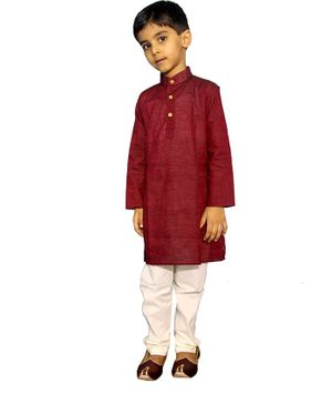 Mittenbooty Full Sleeves Solid Kurta With Pajama - Maroon