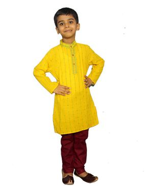 Mittenbooty Printed Full Sleeves Kurta With Pajama - Yellow