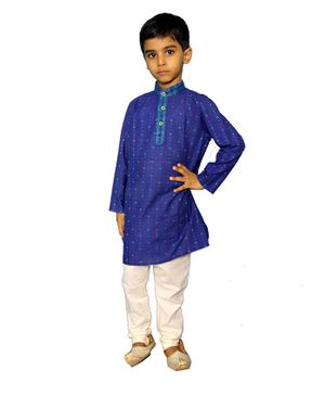 Mittenbooty Printed Full Sleeves Kurta With Pajama - Blue