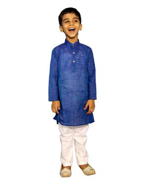 Mittenbooty Full Sleeves Solid Kurta With Pajama - Dark Blue