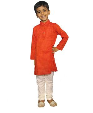 Mittenbooty Full Sleeves Solid Kurta With Pajama - Dark Orange