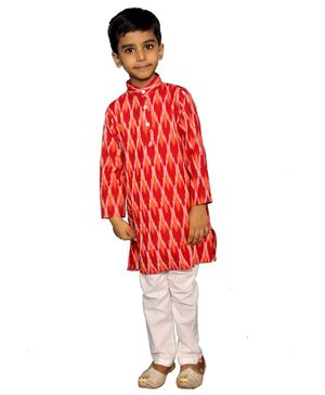 Mittenbooty Full Sleeves Ikkat Pattern Kurta With Pajama - Red