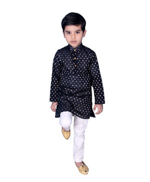 Mittenbooty Full Sleeves Butta Print Kurta & Pajama Set - Navy