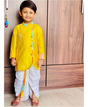 Varsha Showering Trends Full Sleeves Fruit Motif Kurta With Dhoti  - Yellow & Off White