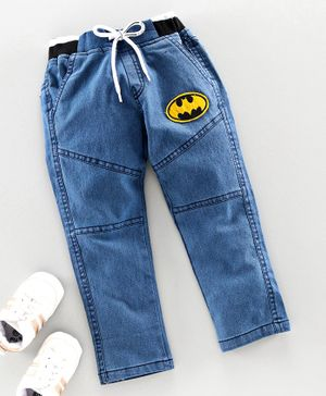 Game Begins Full Length Jeans Pant Batman Patch - Blue