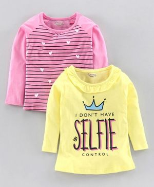 Eteenz Shine On Full Sleeves T-Shirt Pack of 2 - Pink Yellow