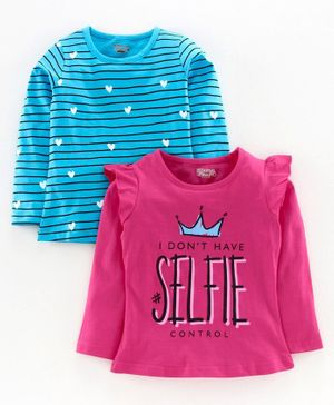 Eteenz Full Sleeves Tee Text Print Pack of 2 - Blue Pink