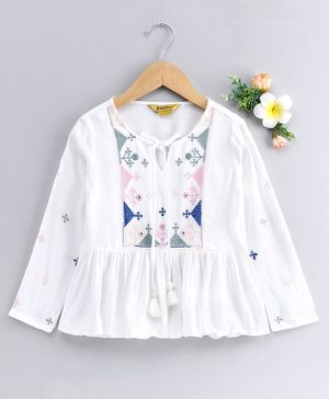 Global Desi Girl Full Sleeves Embroidered Yoke Pleated Hem Front Knot Top - White