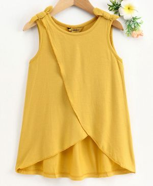 Global Desi Girl Sleeveless Over Lapped Bow Knot Top - Yellow