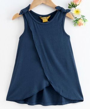 Global Desi Girl Sleeveless Over Lapped Bow Knot Top - Navy Blue