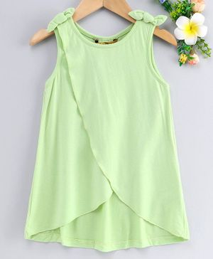 Global Desi Girl Sleeveless Over Lapped Bow Knot Top - Green