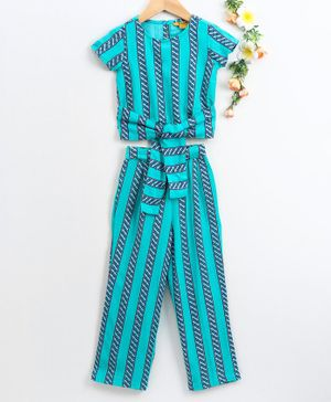 Global Desi Short Sleeves Striped Top With Pants - Blue