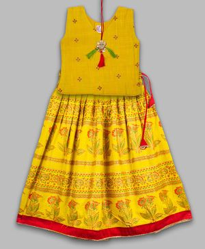 Kinder Kids Sleeveless Choli With Flower Print Lehenga - Yellow