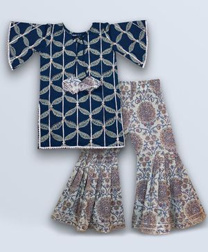 Kinder Kids Printed Half Sleeves Kurti & Sharara Set - Blue