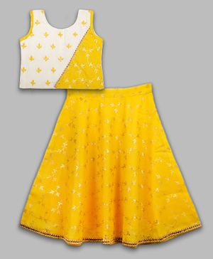 Kinder Kids Sleeveless Choli With Foil Printed Kota Lehenga - Lemon Yellow