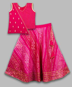 Kinder Kids Short Sleeves Choli With Bhandani Printed Lehenga - Pink