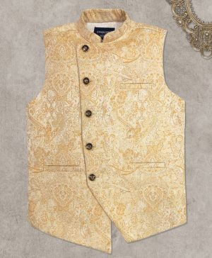 Charchit Sleeveless Self Design Ethnic Jacket - Beige