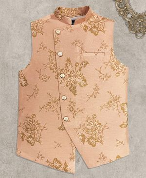 Charchit Sleeveless Floral Design Ethnic Jacket - Peach