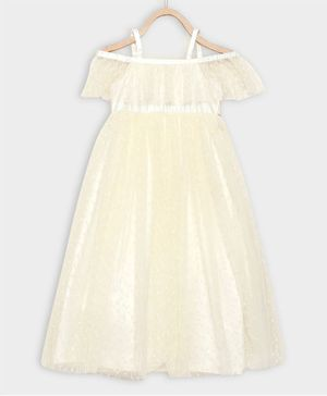 Rianna Half Sleeves Flower Embroidery Detailing Flared Gown - Yellow