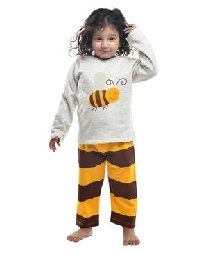 Funkrafts Full Sleeves Honey Bee Printed Night Suit - Brown & White